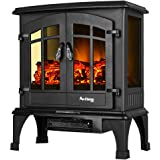 Jasper Portable Free Standing Electric Fireplace Stove by e-Flame USA – 23-inches Tall – Matte Black – Features Heater and Fan Settings with Realistic and Brightly Burning Fire and Logs