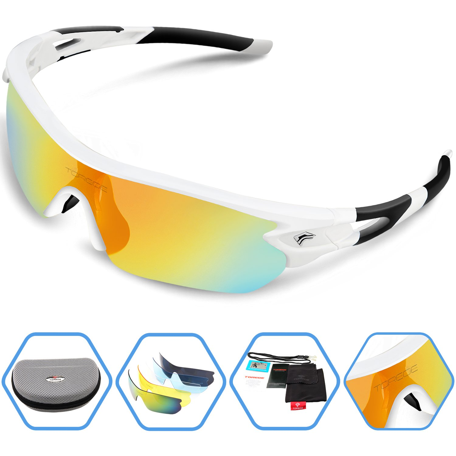 e9d8927084eeb TOREGE Polarized Sports Sunglasses with 5 Interchangeable Lenes for Men  Women Cycling Running Driving Fishing Golf Baseball Glasses TR002