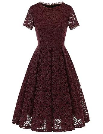 d0123d5c518 DRESSTELLS Women s Bridesmaid Vintage Tea Dress Floral Lace Cocktail Formal  Swing Dress Burgundy S