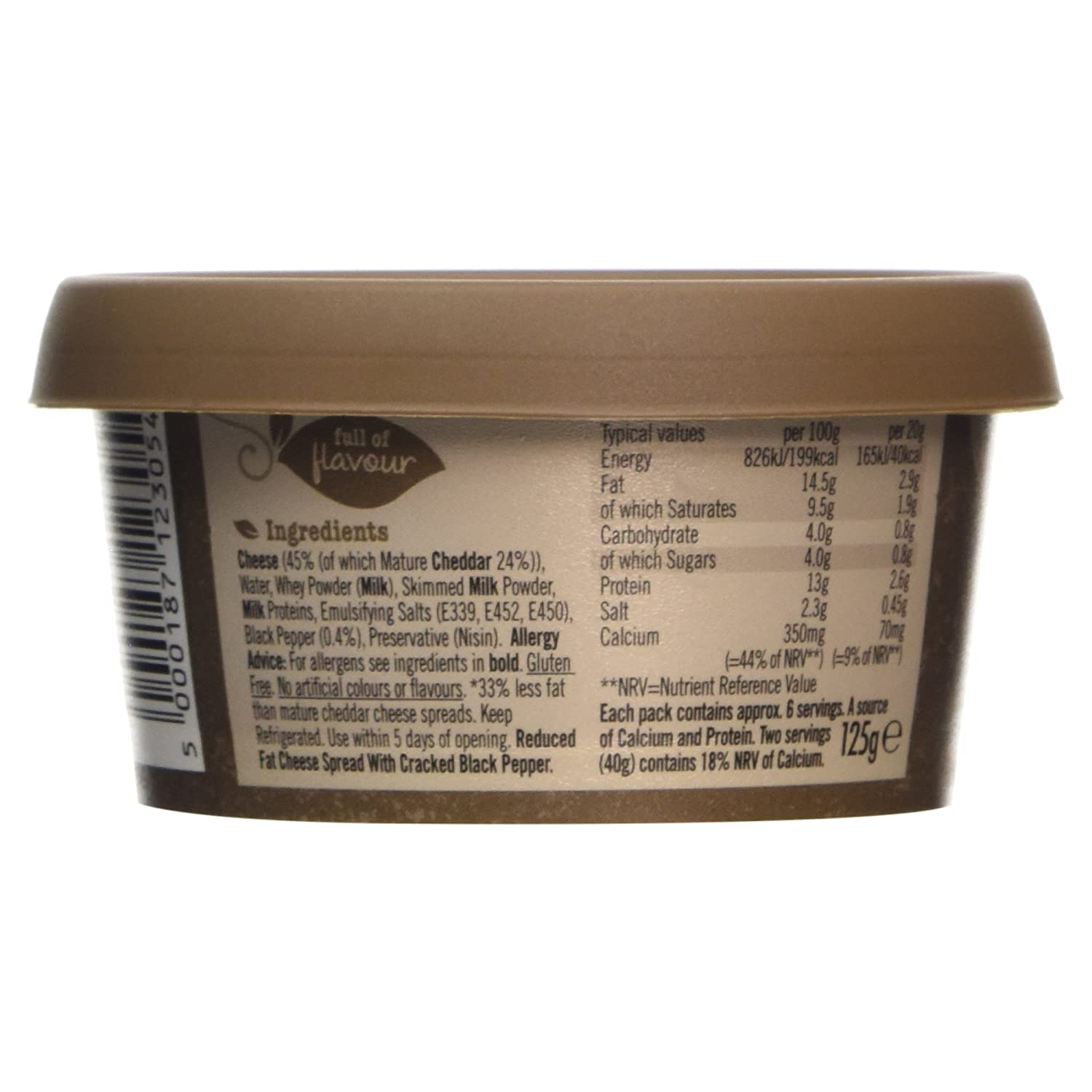 Low Low Mature Cheddar Spread with Cracked Black Pepper, 125g:  Amazon.co.uk: Grocery
