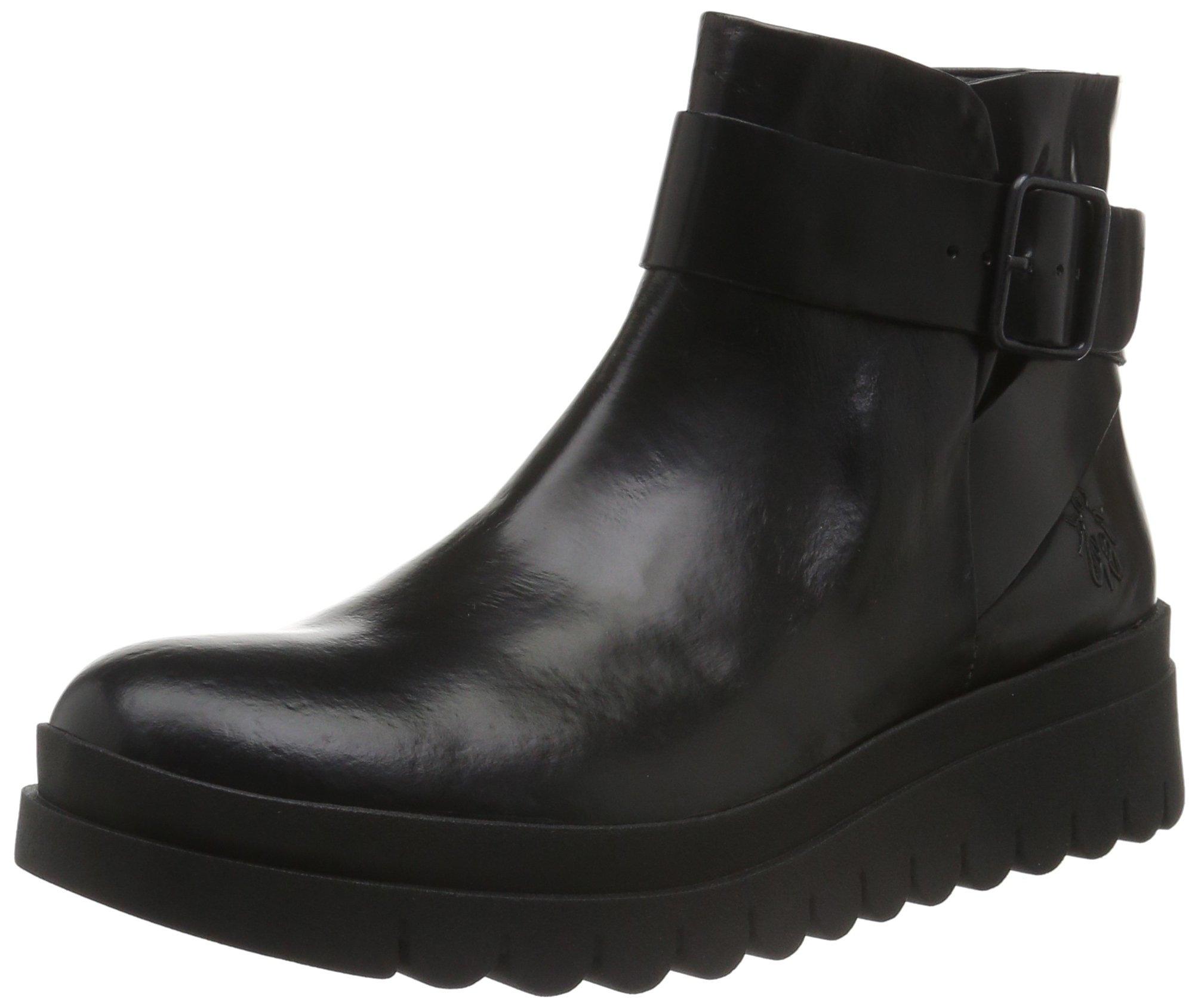 Fly London Womens Halp 773 Fly Glass Black Leather Boots 38 EU