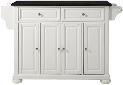 Crosley Furniture Alexandria Kitchen Island With Solid Black Granite Top White