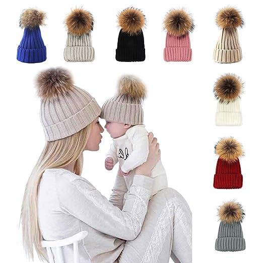 a2491ab50b7 xsby Knitted Cozy Warm Winter Snowboarding Ski Hat with Pom Pom ...