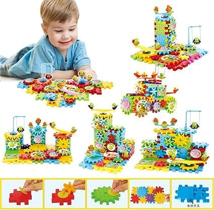 81 Pcs Plastic Electric Gears 3D Puzzle Building Kits Bricks Educational Toys Fo