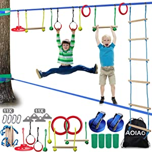 IAOIAO Ninja Warrior Obstacle Course for Kids-50FT Ninja Slackline with Ladder,Gym Rings,Monkey Bars,Wheel,Freestyle Rings,Rope Knots (Ninja Line + Slack Line)