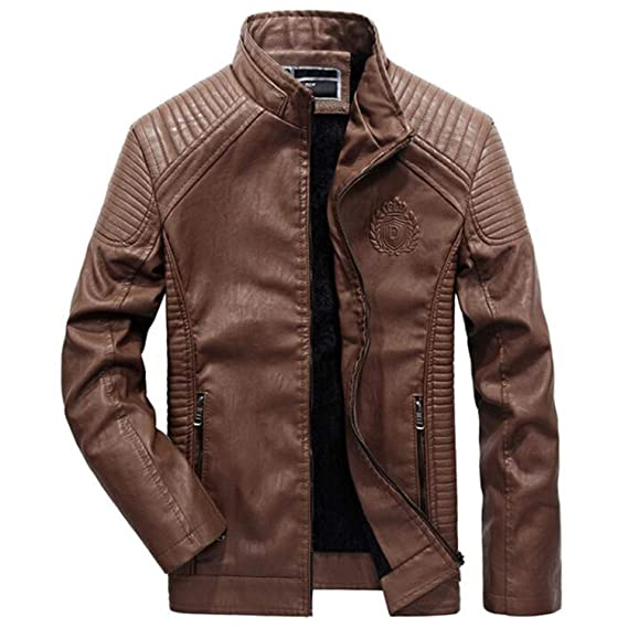 Amazon.com: Leather JacketSlim Fit Pu Biker Motorcycle Leather Jackets Mens Fashion Plus Size 5XL 6XL Warm Stand Collar Coats: Clothing