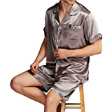 Beancan Mens Silk Satins Pyjamas Pjs Short Set Sleepwear Loungewear S M L XL 2XL 3XL 4XL Plus