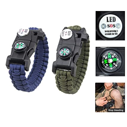 56c85ed130 2個入 多機能 サバイバルブレスレット ブレスレット 救急縄 緊急LEDライト/コンパス機能