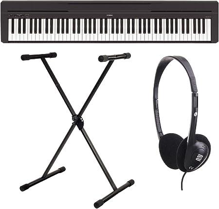 Yamaha P-45B - Piano digital / Set de piano de escenarios con soporte para teclado y auriculares (88 teclas, 64 voces, 10 voces preestablecidas, 4 ...