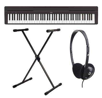 Yamaha P-45B - Piano digital / Set de piano de escenarios con soporte para teclado y auriculares ...