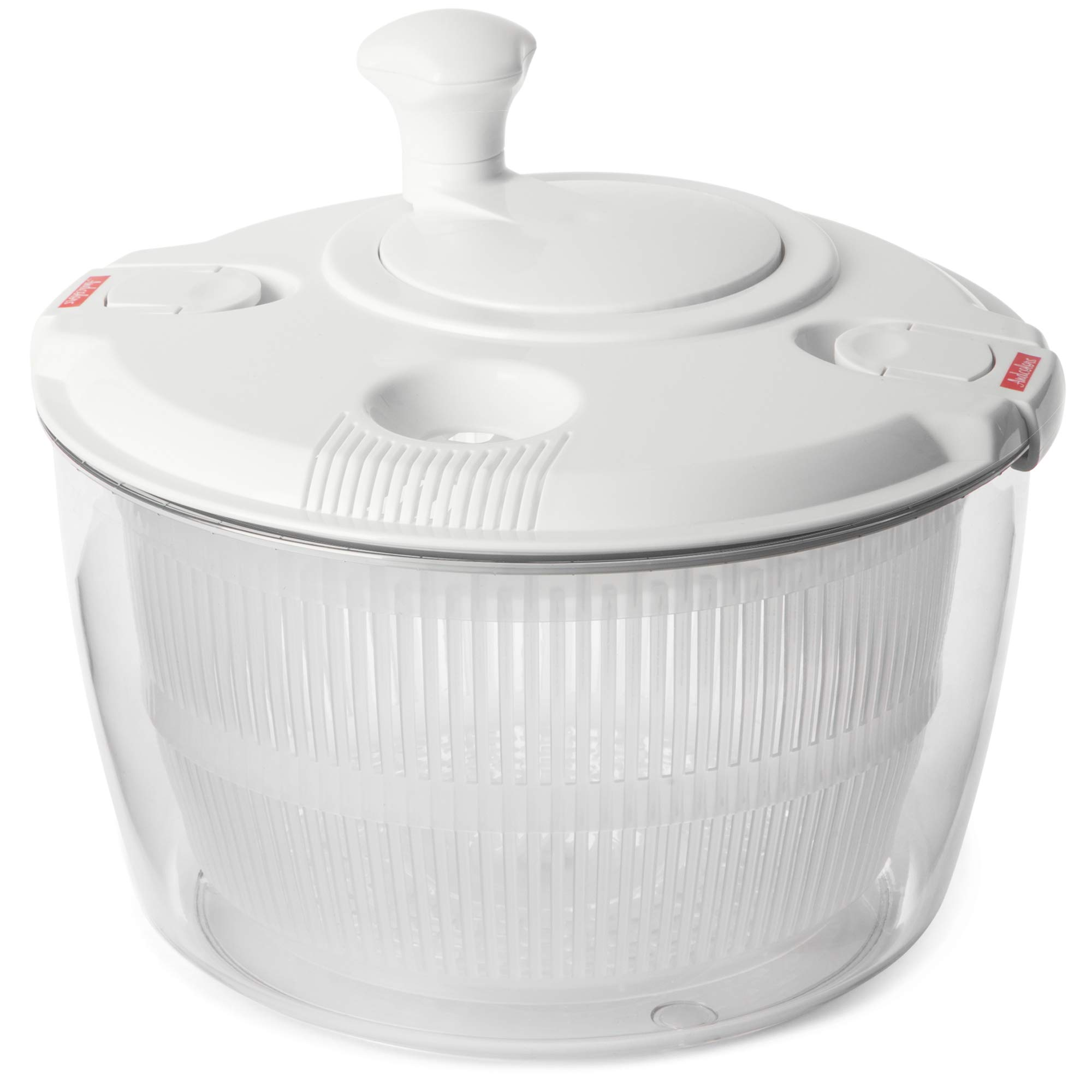 Andcolors Deluxe Salad Spinner Large 4.7 qt Size BPA Free Clips & Locking Tabs for Safety Dry & Drain Lettuce Easily for Crisper Salads in Half the Time Bowl Goes from Prep to Table (Large) by Andcolors