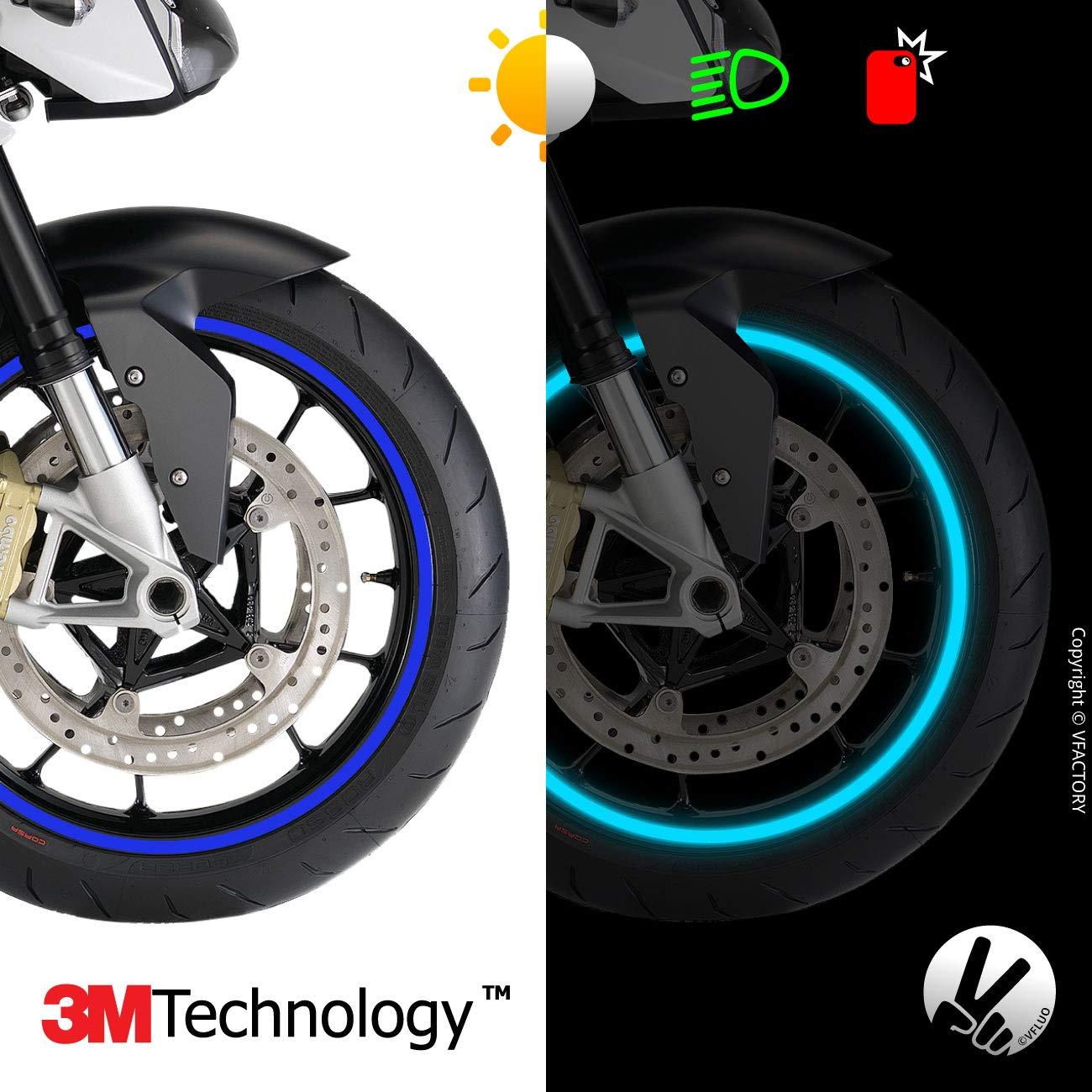 VFLUO CIRCULAR/™ 1 wheel motorcycle retro reflective wheel stripes kit 3M Technology/™ Orange 7 mm width