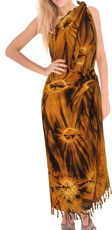 LA LEELA Women's Large Size Beach Holiday Sarong Wrap Skirt Swimsuit Swimwear Maxi Dress Lightweight Pareo Scarf Bathing Towel Rayon TD171 Tie_Dye *LA LEELA