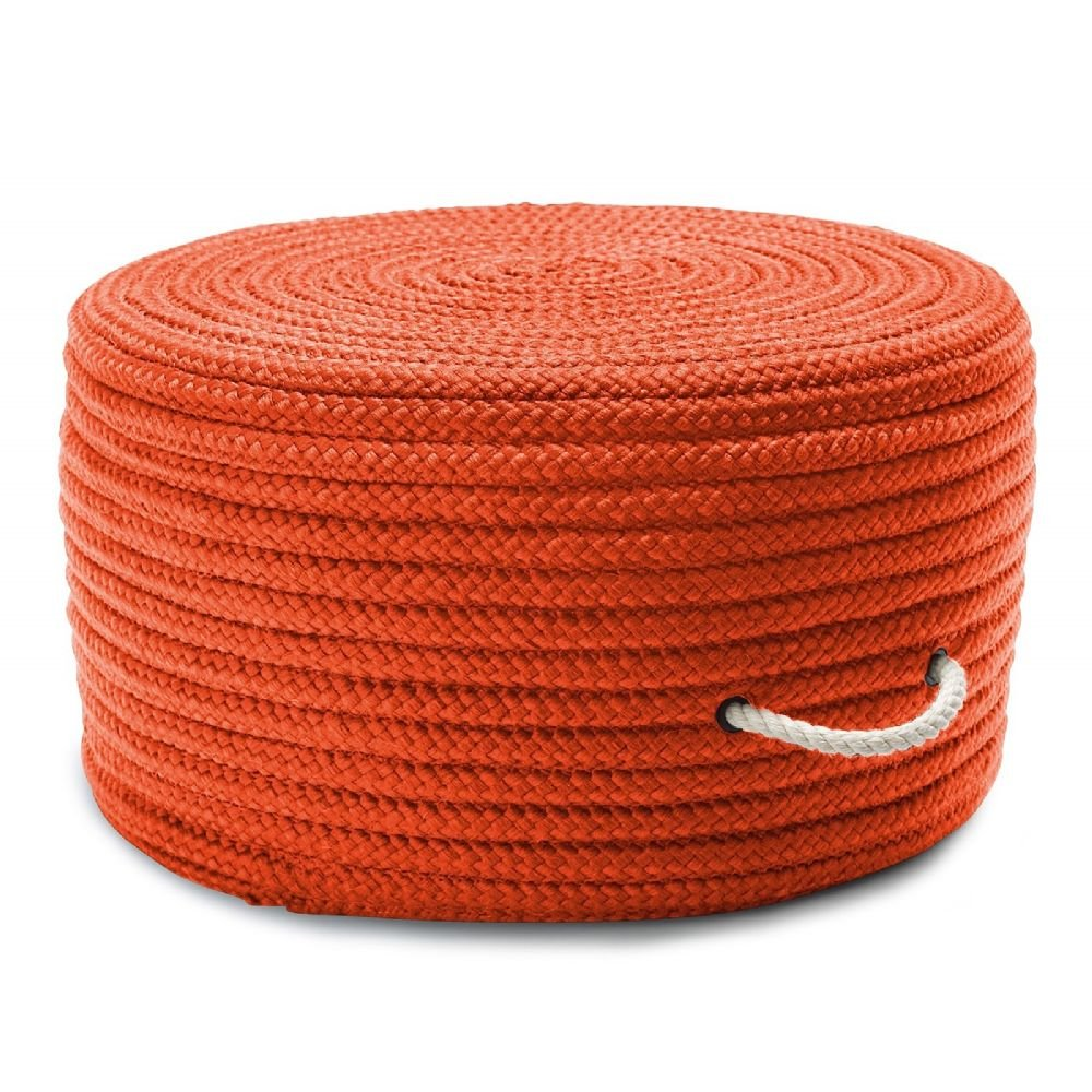Colonial Mills Braided Round pouf/ottoman 20''x20''x11'' in Orange Color From Simply Home Solid Pouf Collection
