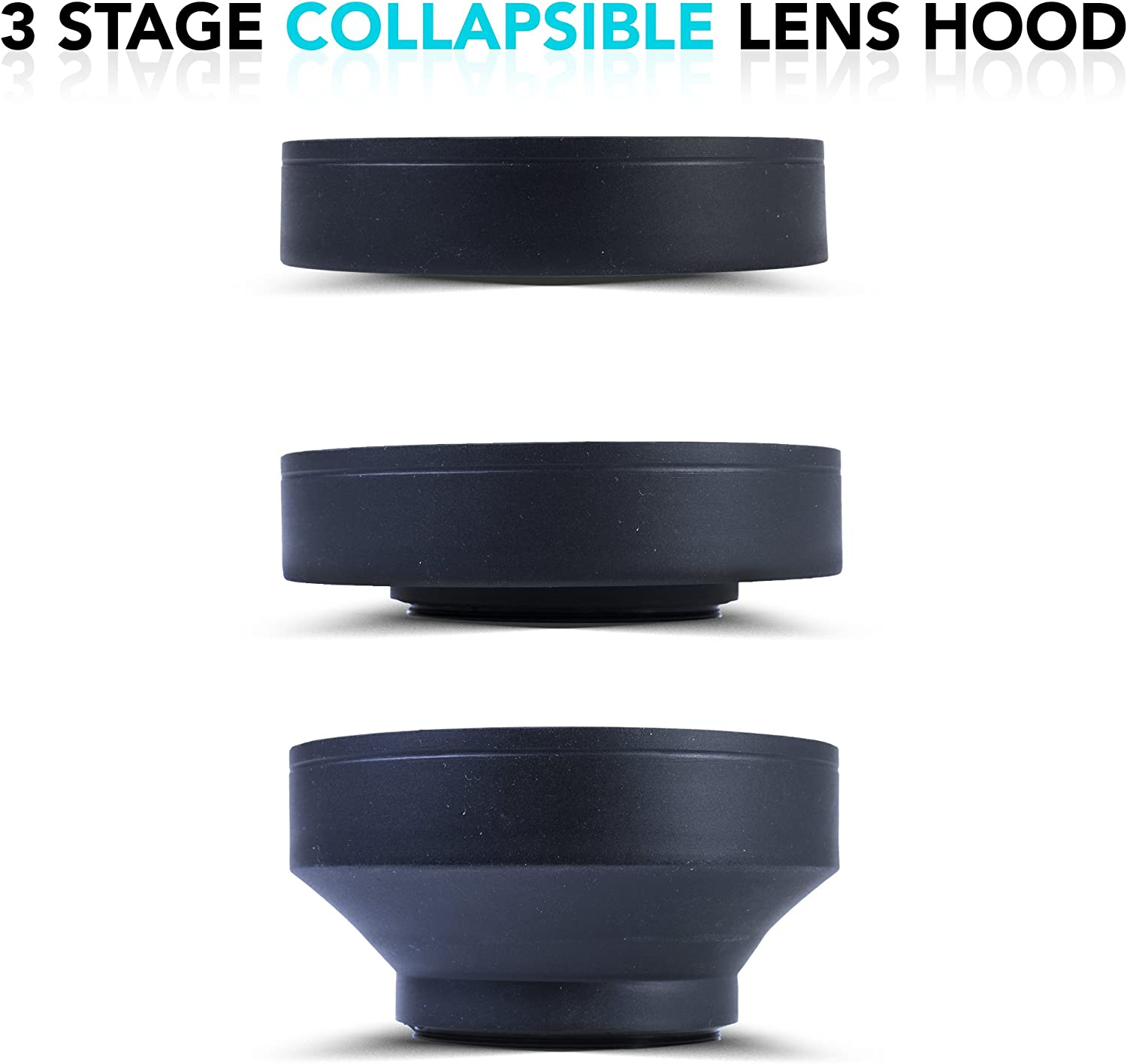 Zeikos 52mm Collapsible Rubber Lens Hood with 3 Stages for Camera Lens with 52mm Filter Thread Also Includes A Miracle Fiber Microfiber Cloth