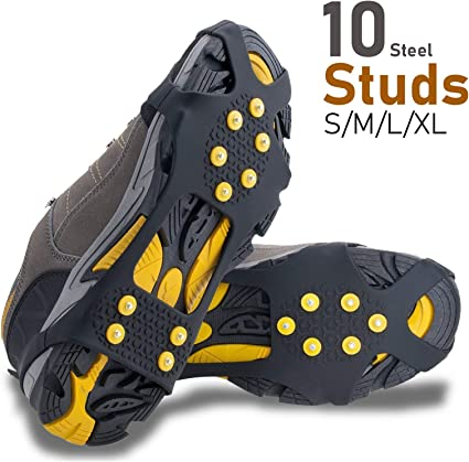 EONPOW Ice Grips Ice /& Snow Grips Cleat Over Shoe//Boot Traction Cleat Rubber Spikes Anti Slip 10 Steel Studs Crampons Slip-on Stretch Footwear