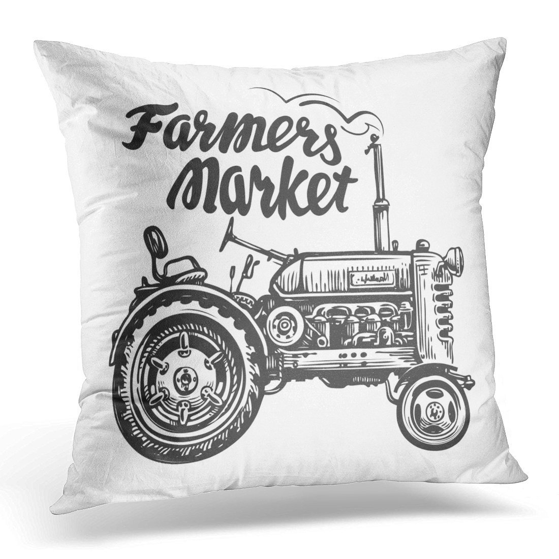 SPXUBZ Drawing Vintage Agricultural Tractor Sketch Farmers Market Lettering Technology Agribusiness Decorative Home Decor Square Indoor/Outdoor Pillowcase Size: 20x20 Inch(Two Sides)