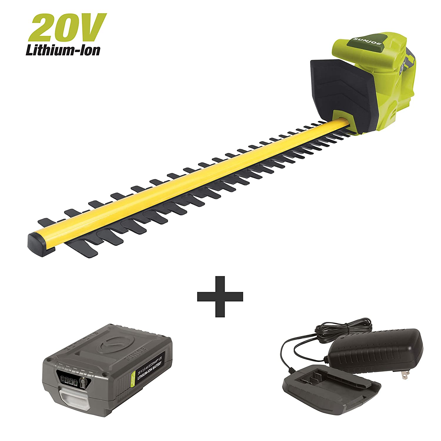 Sun Joe 20VIONLTE-HT20 Cordless Hedge Trimmer, Kit w 2.0-Ah Battery Quick Charger