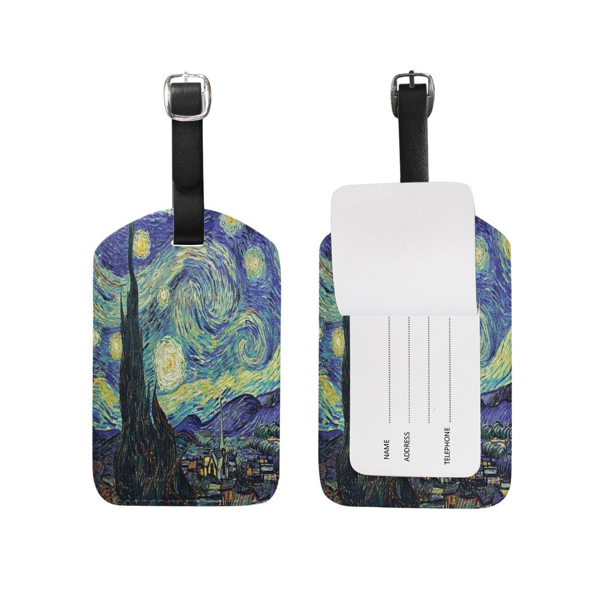 Saobao Travel Luggage Tag Van Gogh's Starry Night PU Leather Baggage Suitcase Travel ID Bag Tag, 1Pcs