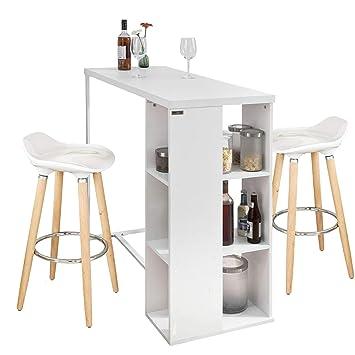 60b69a50ec50b7 SoBuy® Ensemble de Bar Set de Table de Bar Mange-Debout Blanc et 2 ...