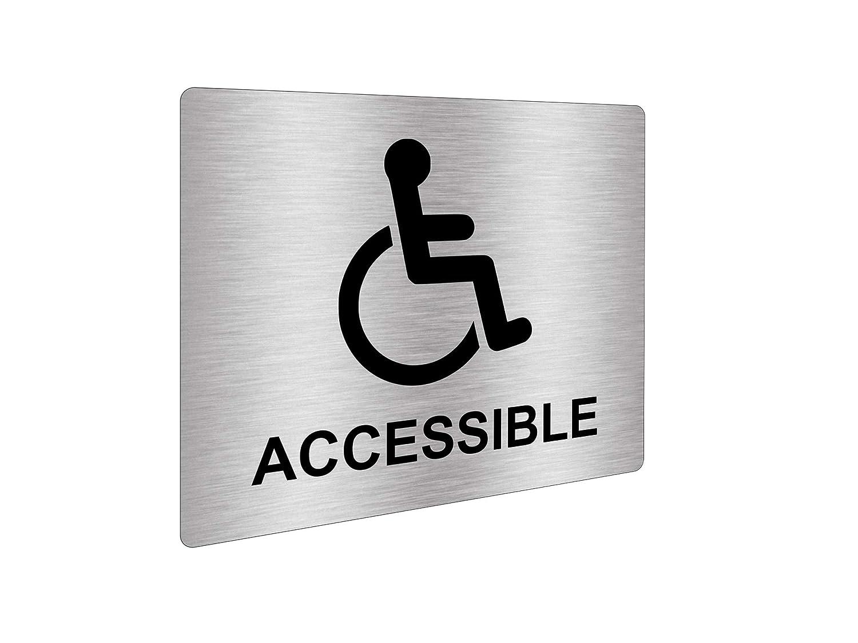 con incisione in argento metallizzato nero con simbolo universale e testo per disabili e disabili Adesivo argentato per sedia a rotelle dimensioni 12 cm x 10 cm