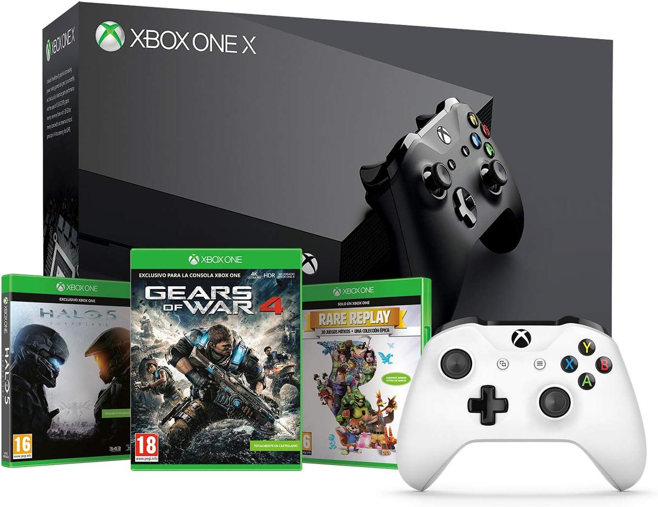 Microsoft Xbox One X - Consola 1 TB 4K HDR Negro + Microsoft - Xbox Wireless Controller Gamepad, Blanco (PC, Xbox One S): Amazon.es: Videojuegos