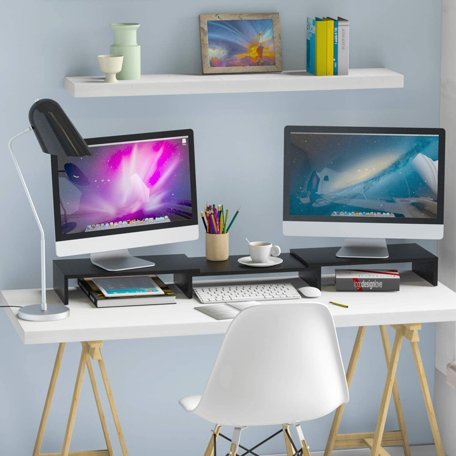 5Rcom Dual Monitor Stand 3 Shelves Desk Riser with Adjustable Length and Angle Computer TV PC Laptop Screen Stand, Multi Desktop Stand Storage Organizer for iMac, Printer, Notebook : Office Products