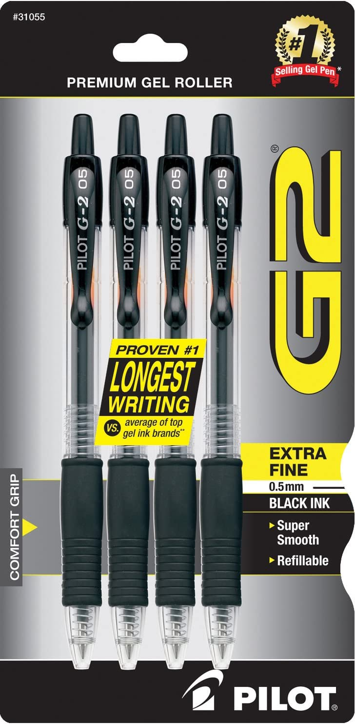 PILOT G2 Premium Refillable & Retractable Rolling Ball Gel Pens, Extra Fine Point, Black Ink, 4-Pack (31055)