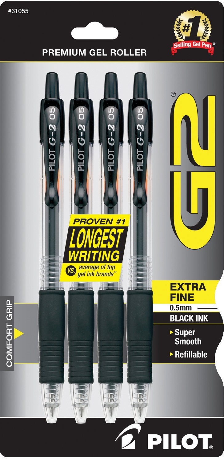 Pilot G2 Retractable Premium Gel Ink Roller Ball Pens (5L4S)