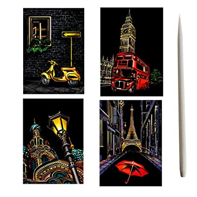 Whear 4 Piece Rainbow Scratch Paper Art Set for Kids Adults,Magic Scratch Off Arts and Crafts Supplies Kits for Birthday Game Party Gifts: Everything Else