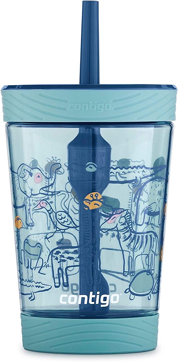 Best Contigo Spill-Proof Kids Tumbler With Straw 14 Oz, Agave With Zoo Animals
