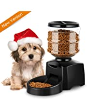 amzdeal Automatic Cat Food Dispenser 5.5L Cat Feeder Pet Feeder Up to 3 Meals A Day with Meal Call Voice Recording Function for Dogs and Cats