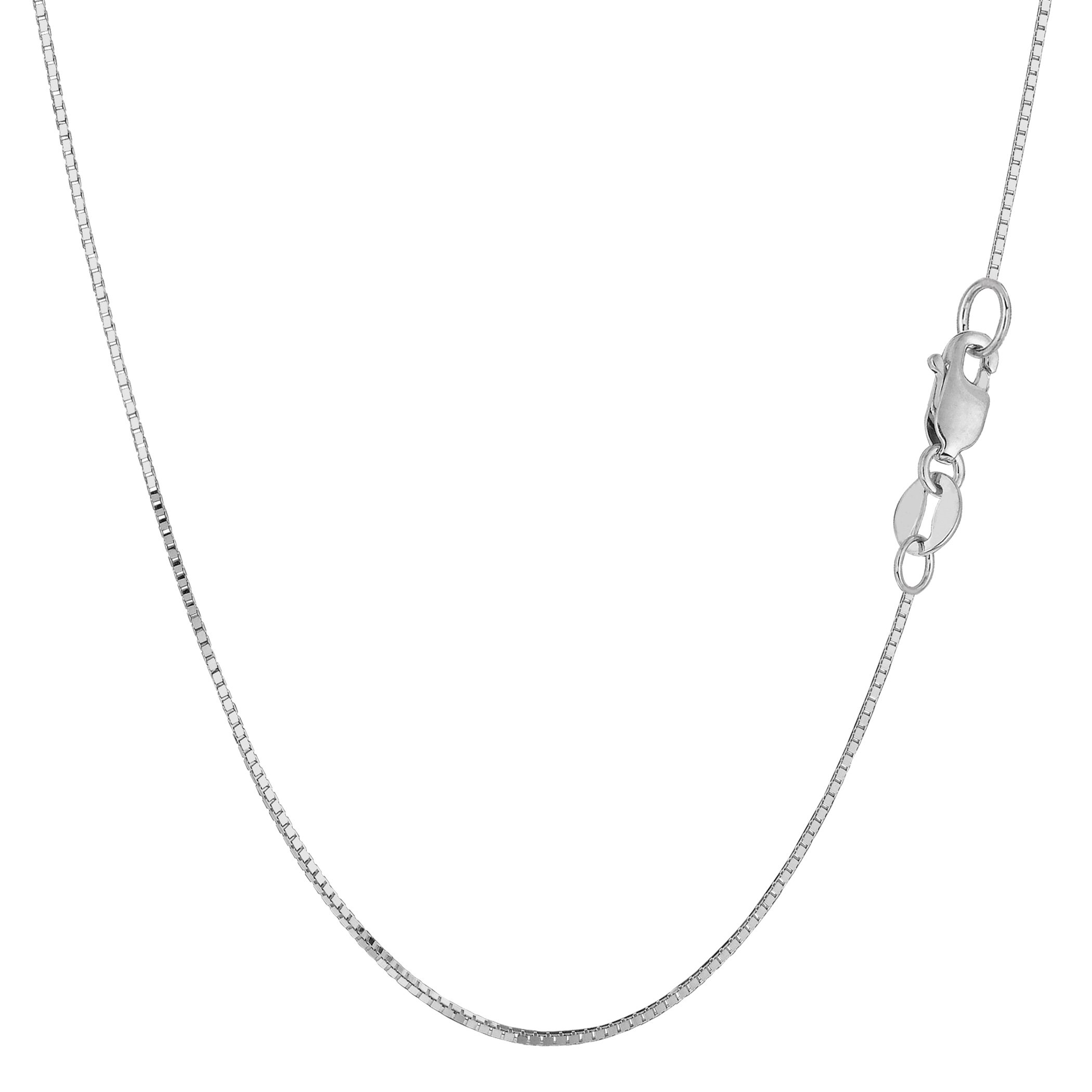 14k White Gold Classic Mirror Box Chain Necklace, 0.7mm, 18''