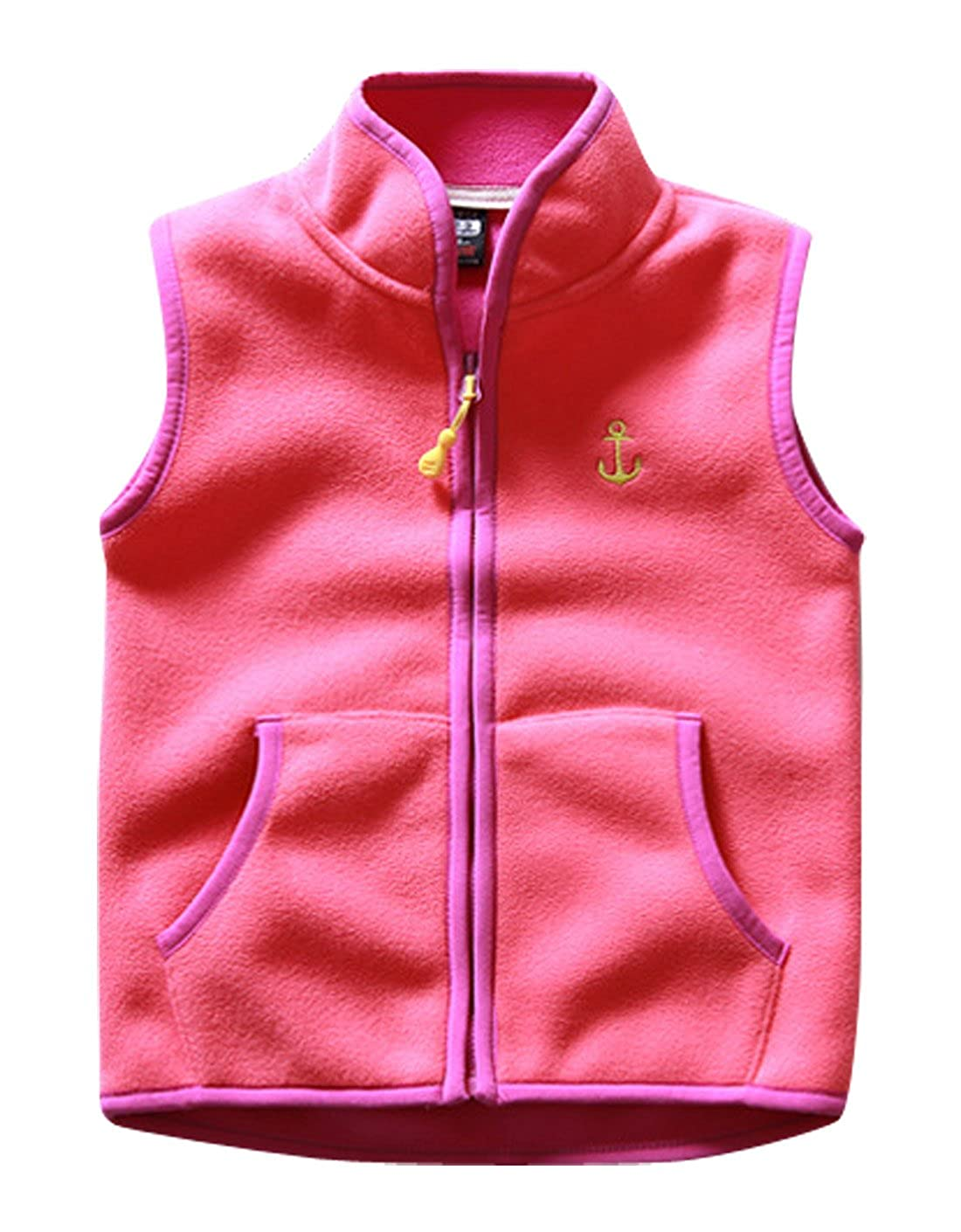 Aivtalk Girls Fleece Vest Zipper Up Warm Pocket Sleeveless Jacket 2-8T