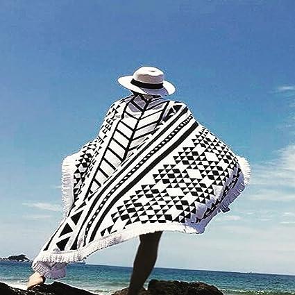 "59"" Microfiber Round Beach Towel Bath Towels Tassel Geometric Print Summer Women Sandy Swimming Plage"