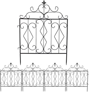 unho Decorative Garden Fence 24in x 32in, 5Panels Coated Metal Outdoor Fencing Flower Bed Iron Wire Edging Barrier Section Panel-90