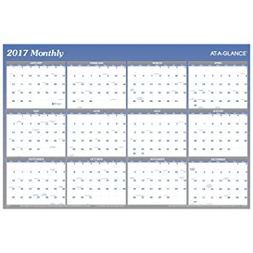 Amazon.com : AT-A-GLANCE Wall Planner Calendar 2017, Erasable ...