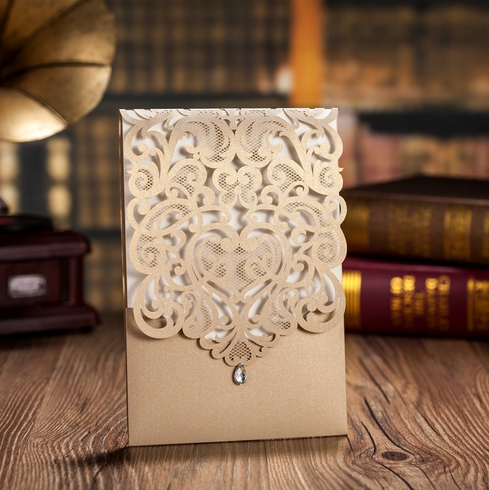 Wishmade 100 Pieces Gold Laser Cut Wedding Invitations Cards with Rhinestone Engagement Party Bridal Shower Invitations CW5010 by Wishmade