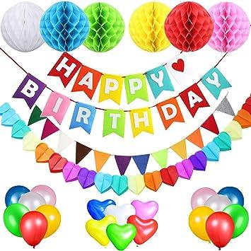 Acetek Decorations D Anniversaire De Fete Happy Birthday Banderole