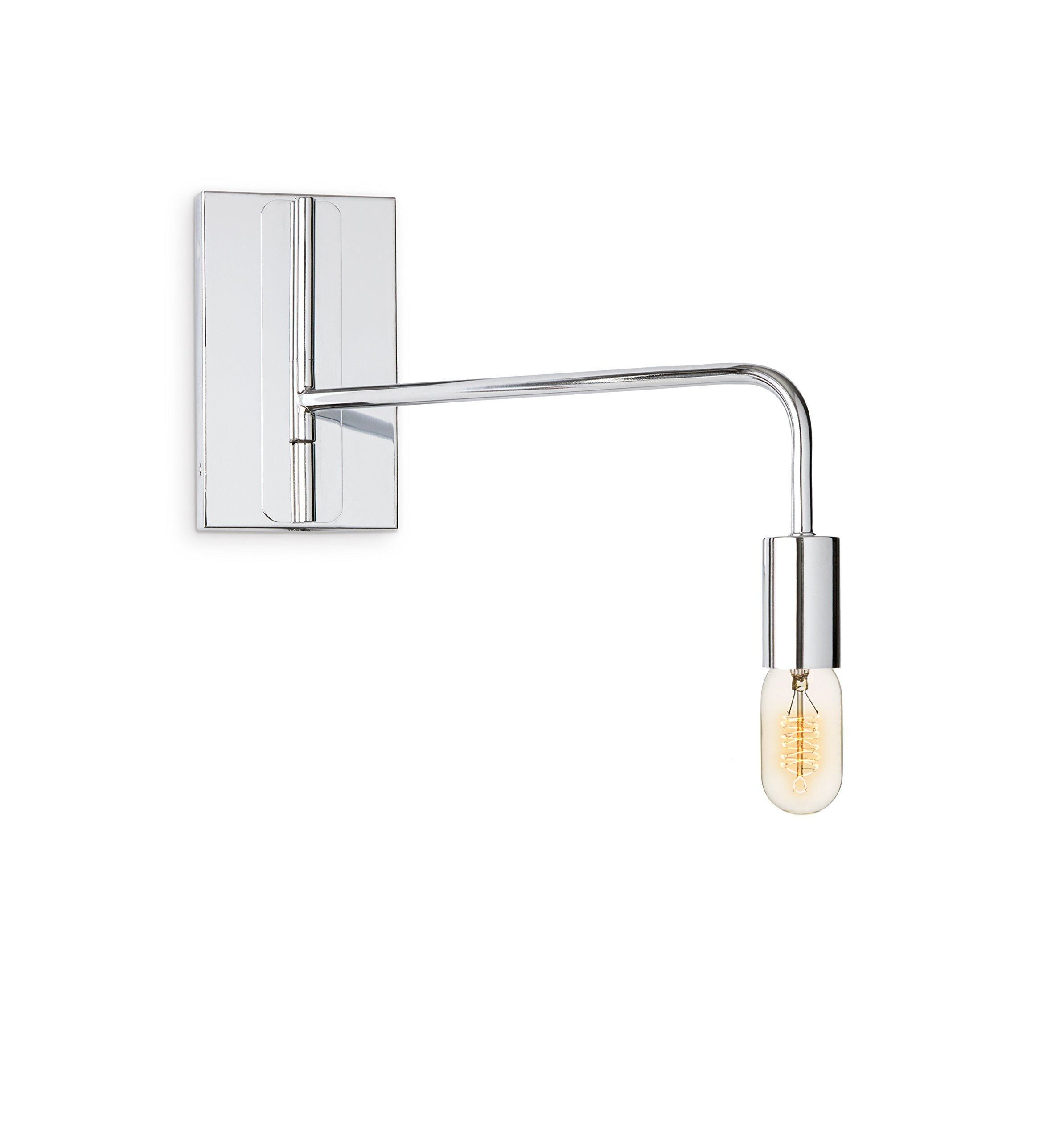 Chrome Wall Sconce Lamp Light - Adjustable Swing Arm, Plugin and Hardwire Installation Options, Edison Bulb Included, Brooklyn Bulb Co. Hoyt Collection - ETL Listed