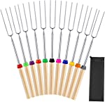 Mluchee 11Pcs Marshmallow Roasting Sticks Smores Skewers for Fire Pit Grill