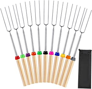 Mluchee 11Pcs Marshmallow Roasting Sticks Smores Skewers for Fire Pit Grill Campfire 32inch Telescoping Sausage Barbecue Hot Dog Forks Portable Bag
