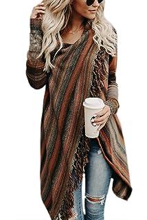 Zilcremo Mujer Invierno Casual Borlas con Flecos De Rayas Irregulares Étnicas Cardigan Abrigos