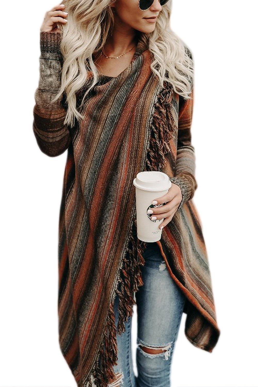TALLA ES XL/CN XXL. Zilcremo Mujer Frente Abierto Borla Cardigan Abrigos Suéter Poncho De Punto Suéteres Top
