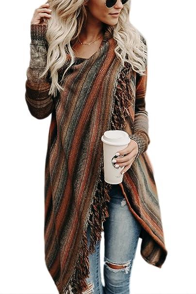 0c8943c9b4063 Zilcremo Mujer Invierno Casual Borlas con Flecos De Rayas Irregulares  Étnicas Cardigan Abrigos  Amazon.es  Ropa y accesorios
