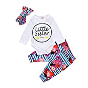 Baby Girls Little Sister Bodysuit Tops Floral Pants Bowknot Headband Outfits Set (0-6 Months, Style 4)