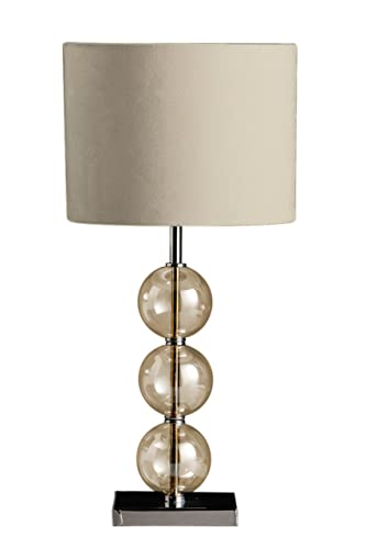 Premier Housewares Mistro Table Lamp With 3 Amber Glass Balls Chrome Base  And Cream Faux Suede
