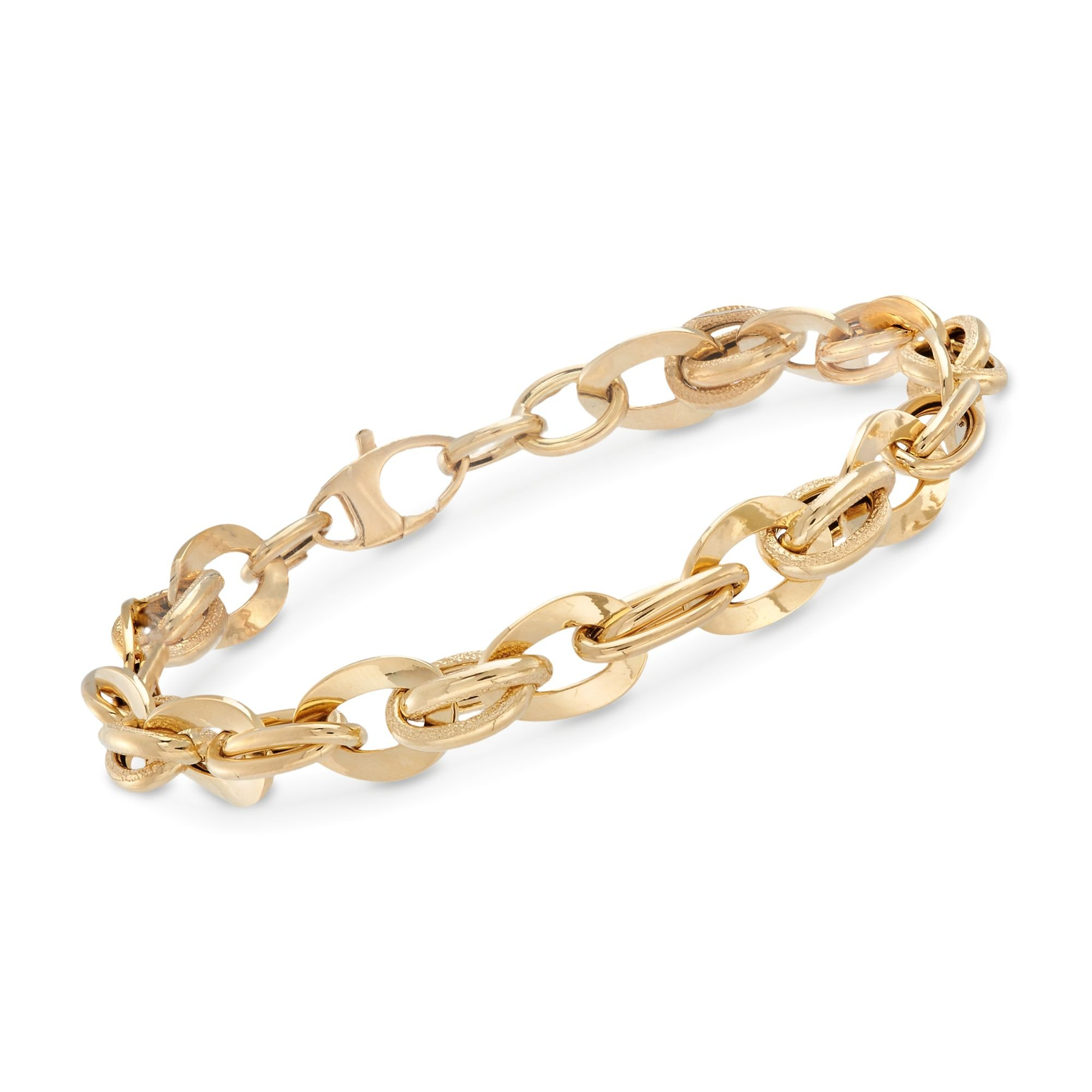 Ross-Simons Italian 18kt Yellow Gold Textured and Polished Oval-Link Bracelet