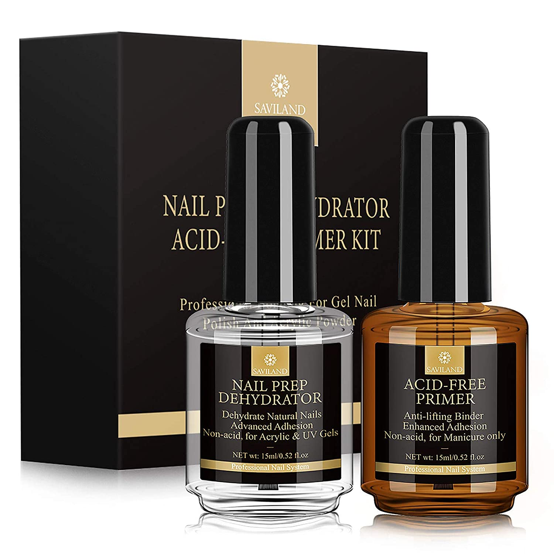 Saviland Nail Dehydrator and Primer, Long-lasting Nail Prep Dehydrate and Acid Free Bonding Primer Set Professional Natural for Acrylic Powder and Gel Nail Polish 0.5 oz