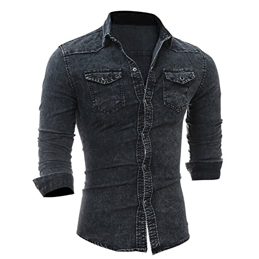 2fcec51de56 Men s Denim Shirt Serzul 47 Denim Western Snap-up Shirt Cowboy Blouse Slim  Thin Long Tops